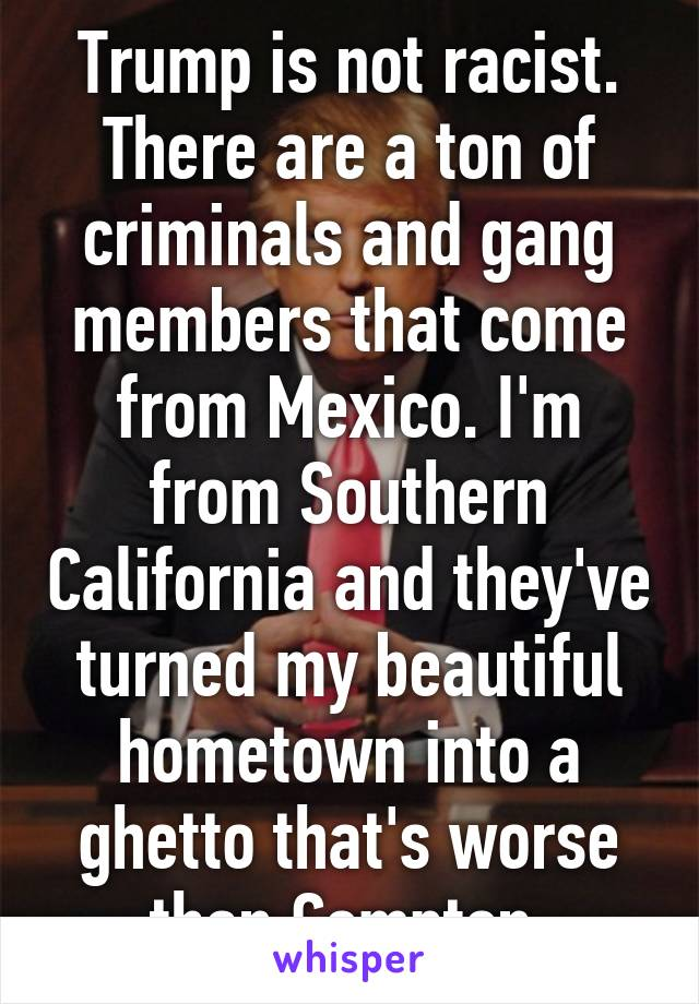 Trump is not racist. There are a ton of criminals and gang members that come from Mexico. I'm from Southern California and they've turned my beautiful hometown into a ghetto that's worse than Compton