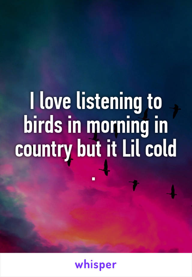 I love listening to birds in morning in country but it Lil cold .