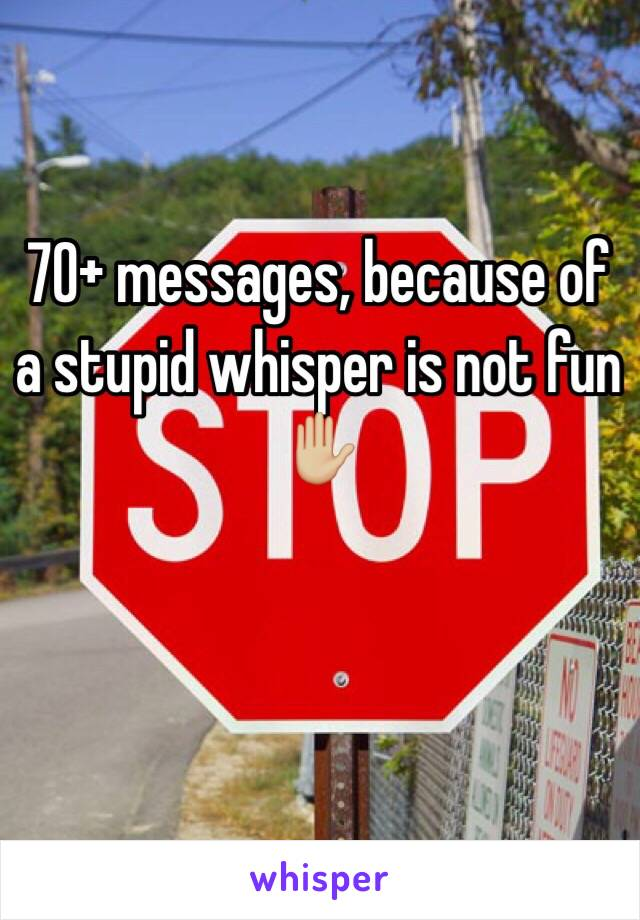 70+ messages, because of a stupid whisper is not fun ✋🏼