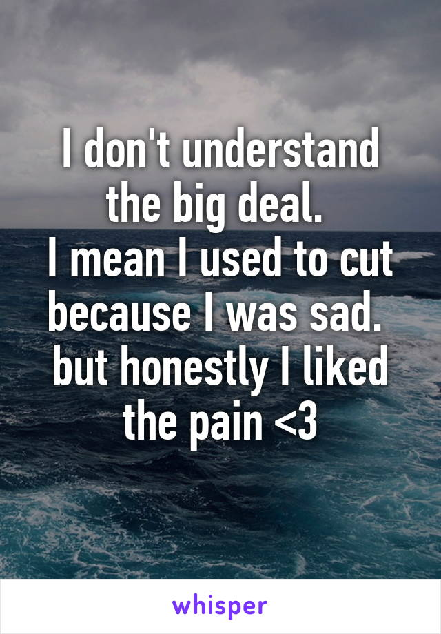 I don't understand the big deal.  I mean I used to cut because I was sad.  but honestly I liked the pain <3
