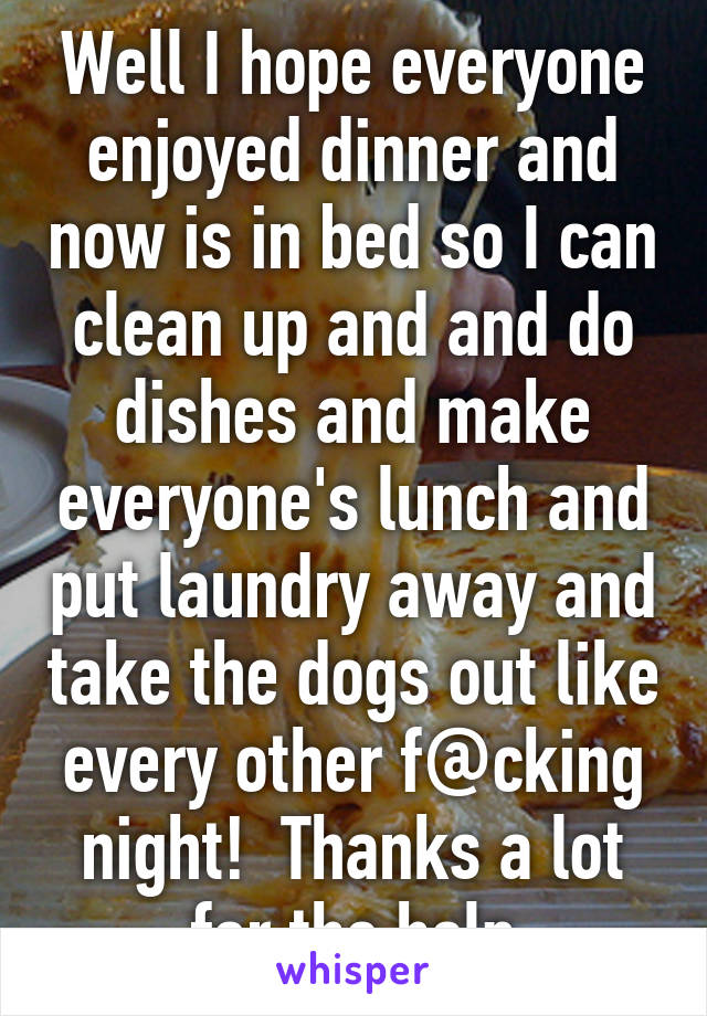 Well I hope everyone enjoyed dinner and now is in bed so I can clean up and and do dishes and make everyone's lunch and put laundry away and take the dogs out like every other f@cking night!  Thanks a lot for the help