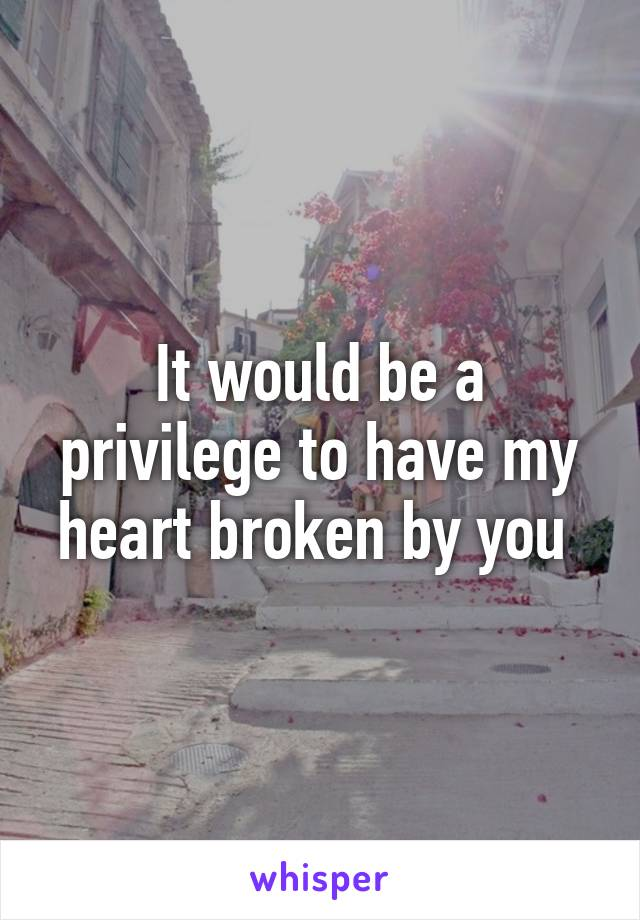 It would be a privilege to have my heart broken by you