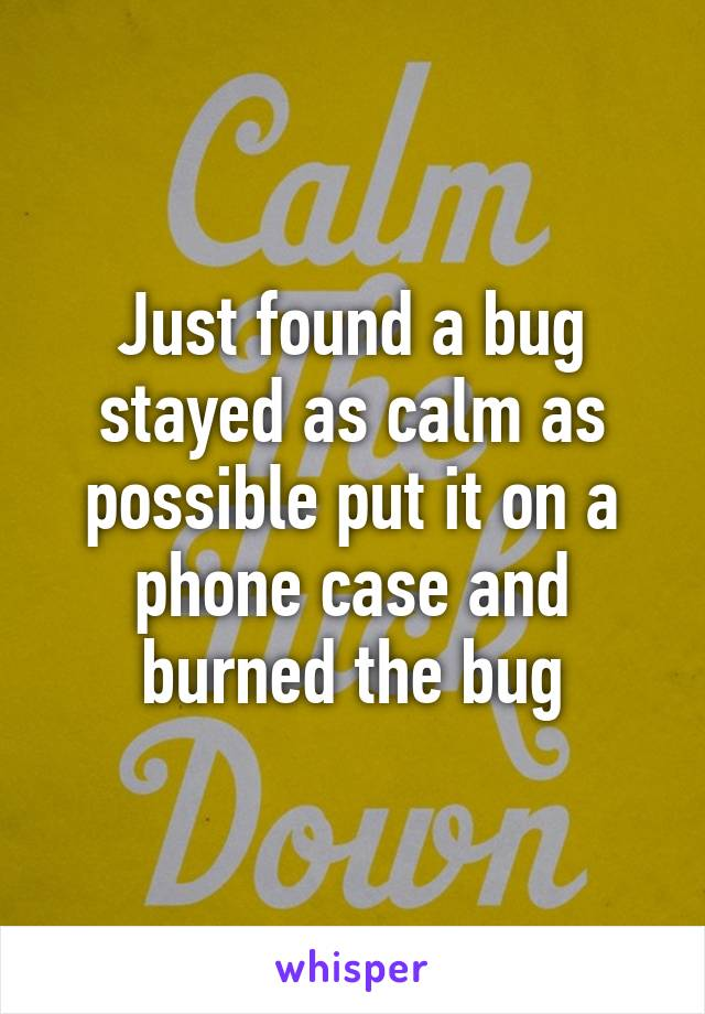 Just found a bug stayed as calm as possible put it on a phone case and burned the bug