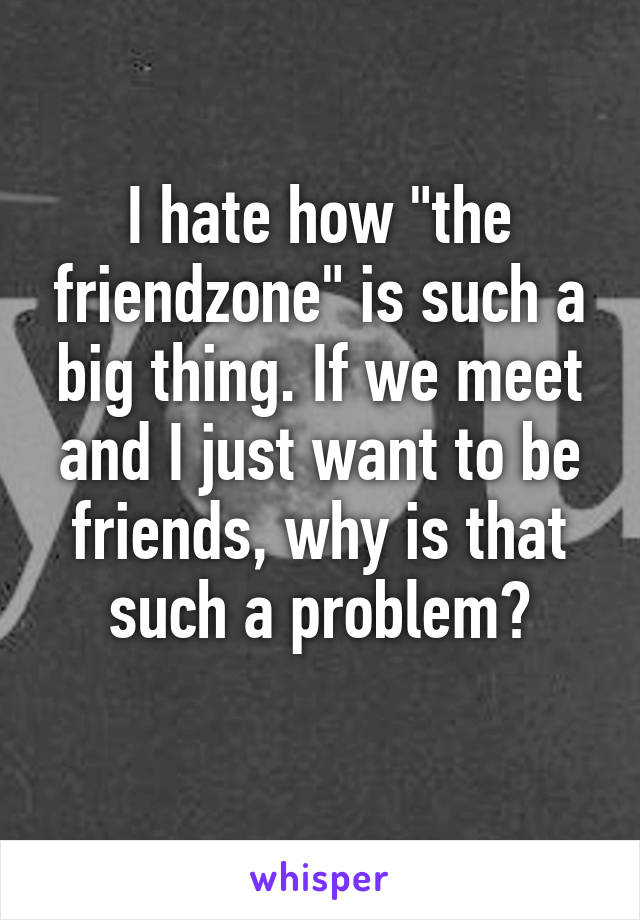 "I hate how ""the friendzone"" is such a big thing. If we meet and I just want to be friends, why is that such a problem?"