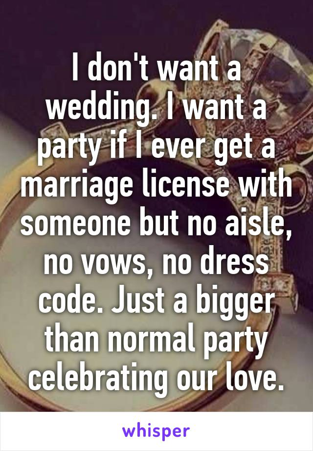 I don't want a wedding. I want a party if I ever get a marriage