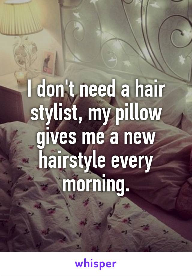 I Dont Need A Hair Stylist My Pillow Gives Me A New Hairstyle