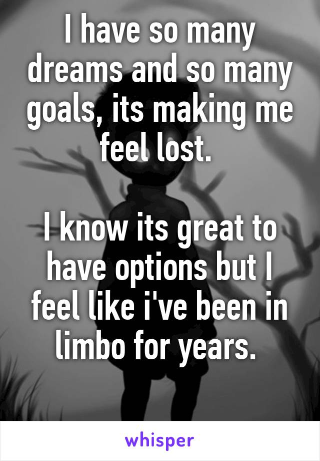 I have so many dreams and so many goals, its making me feel lost.   I know its great to have options but I feel like i've been in limbo for years.