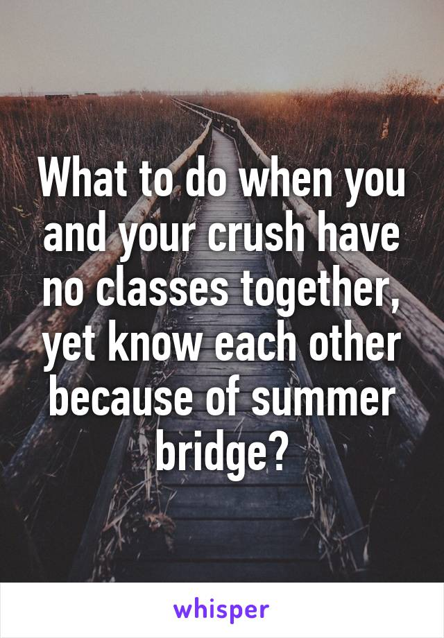 What to do when you and your crush have no classes together, yet know each other because of summer bridge?