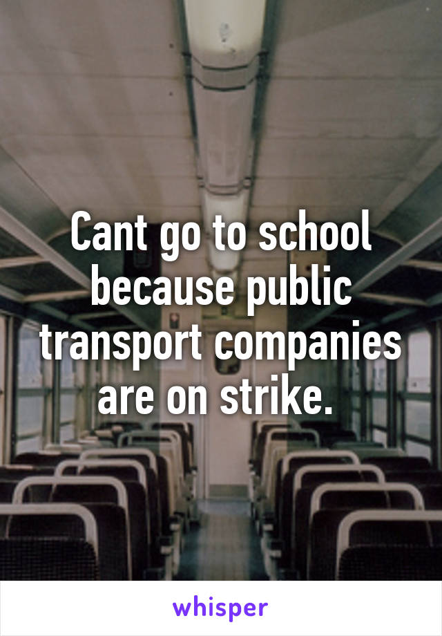 Cant go to school because public transport companies are on strike.