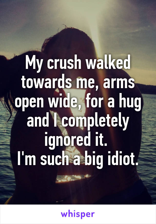 My crush walked towards me, arms open wide, for a hug and I completely ignored it.  I'm such a big idiot.