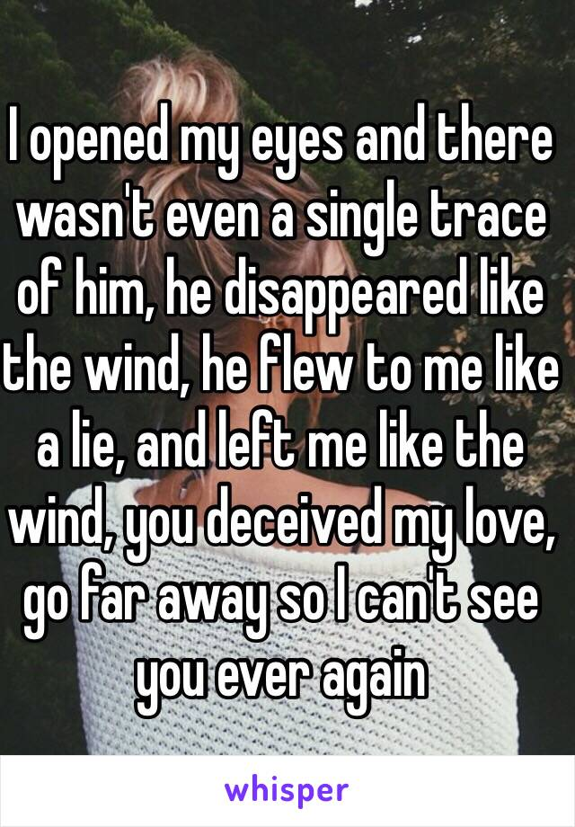 I opened my eyes and there wasn't even a single trace of him, he disappeared like the wind, he flew to me like a lie, and left me like the wind, you deceived my love, go far away so I can't see you ever again