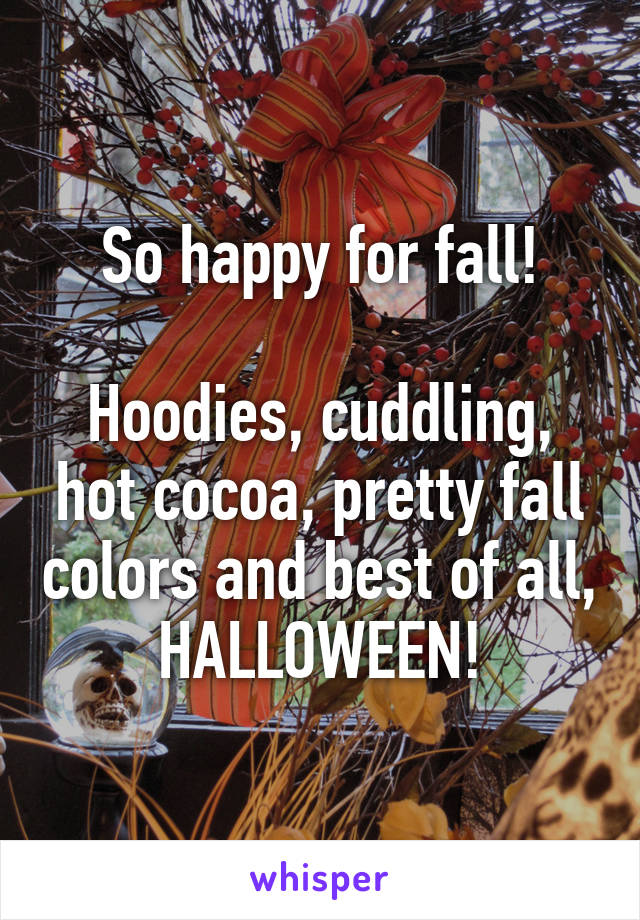 So happy for fall!  Hoodies, cuddling, hot cocoa, pretty fall colors and best of all, HALLOWEEN!