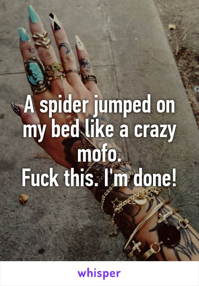 A spider jumped on my bed like a crazy mofo. Fuck this. I'm done!
