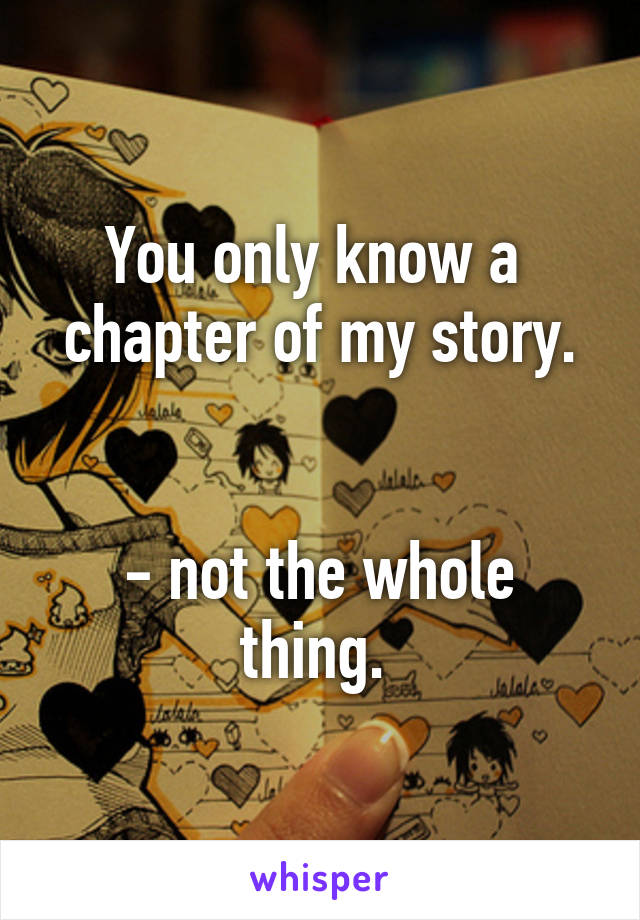 You only know a  chapter of my story.   - not the whole thing.