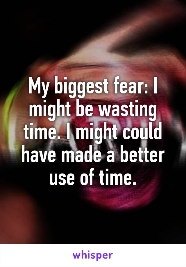 My biggest fear: I might be wasting time. I might could have made a better use of time.
