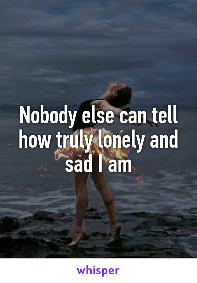 Nobody else can tell how truly lonely and sad I am