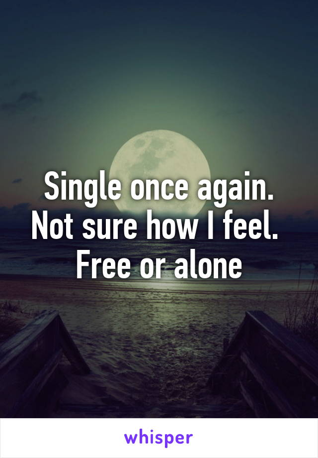 Single once again. Not sure how I feel.  Free or alone