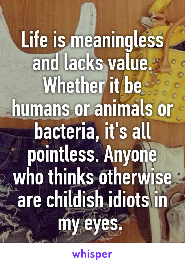 Life is meaningless and lacks value. Whether it be humans or animals or bacteria, it's all pointless. Anyone who thinks otherwise are childish idiots in my eyes.