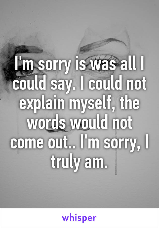 I'm sorry is was all I could say. I could not explain myself, the words would not come out.. I'm sorry, I truly am.