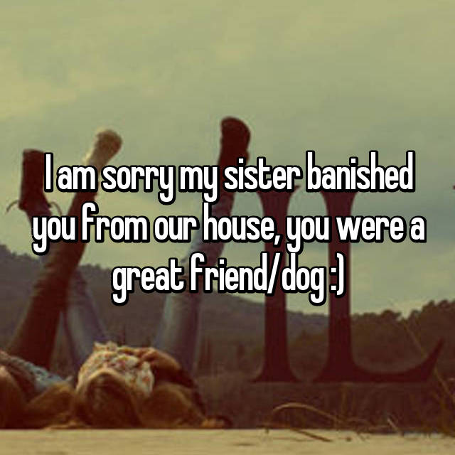 I am sorry my sister banished you from our house, you were a great friend/dog :)