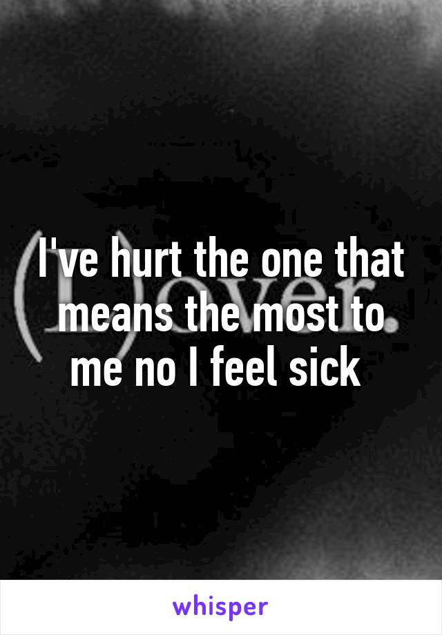 I've hurt the one that means the most to me no I feel sick