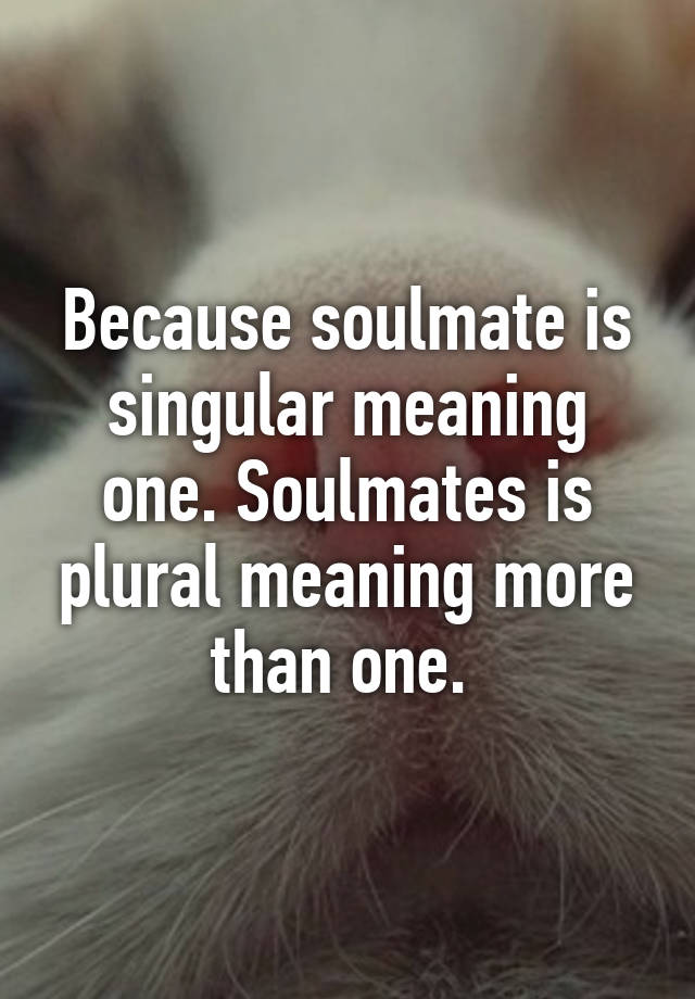 Because soulmate is singular meaning one  Soulmates is
