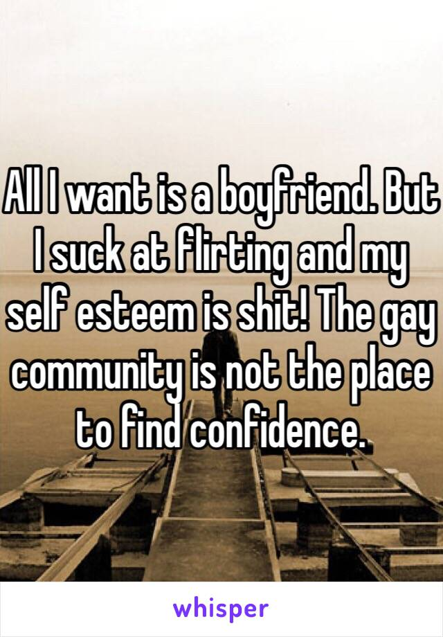 All I want is a boyfriend. But I suck at flirting and my self esteem is shit! The gay community is not the place to find confidence.