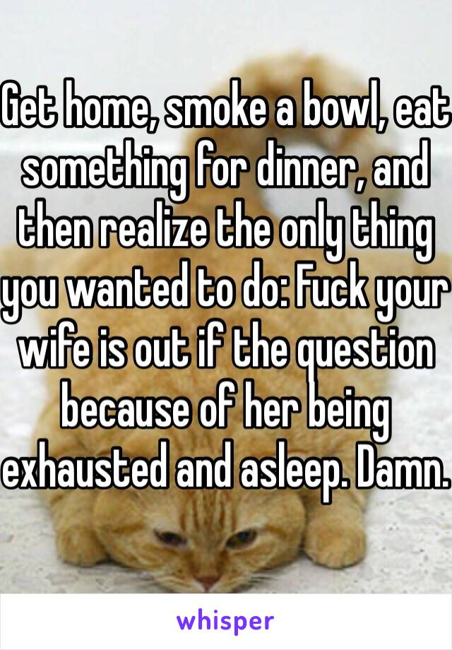 Get home, smoke a bowl, eat something for dinner, and then realize the only thing you wanted to do: Fuck your wife is out if the question because of her being exhausted and asleep. Damn.