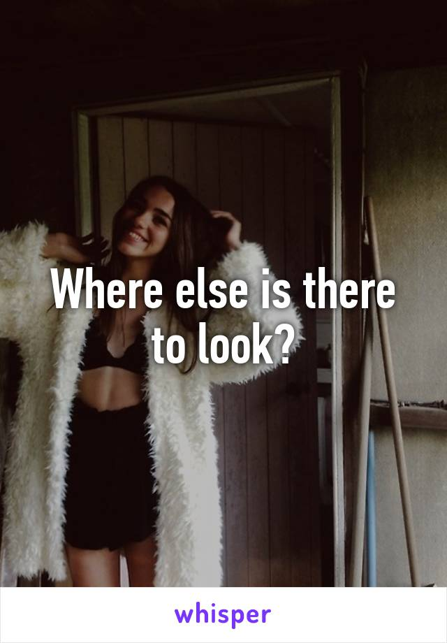 Where else is there to look?