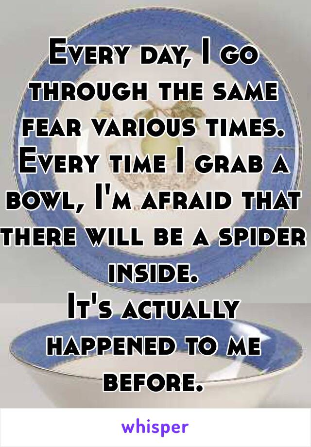 Every day, I go through the same fear various times. Every time I grab a bowl, I'm afraid that there will be a spider inside.  It's actually happened to me before.