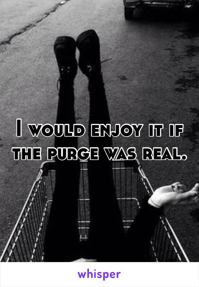 I would enjoy it if the purge was real.