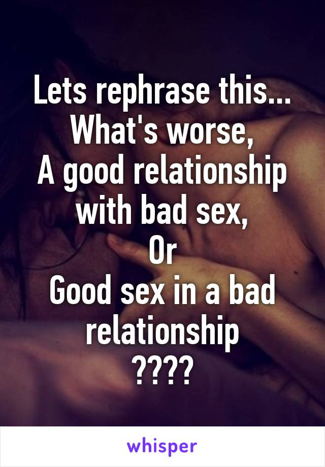 What does good sex look like
