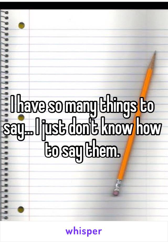 I have so many things to say... I just don't know how to say them.