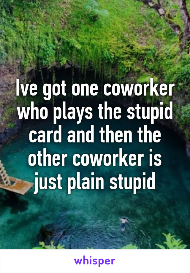 Ive got one coworker who plays the stupid card and then the other coworker is just plain stupid