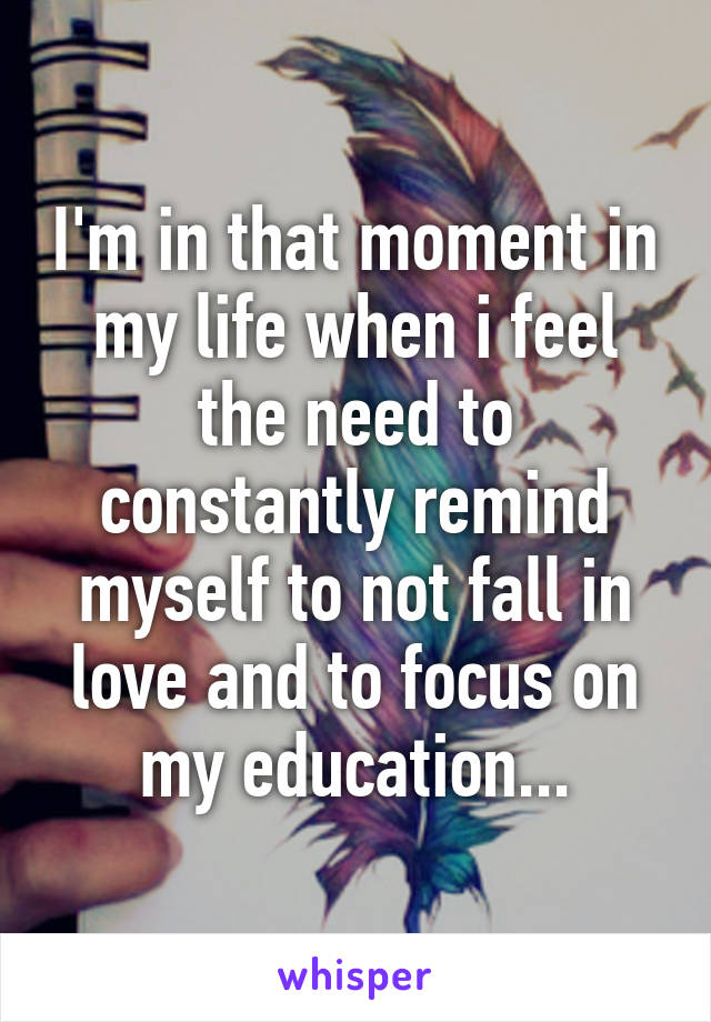 I'm in that moment in my life when i feel the need to constantly remind myself to not fall in love and to focus on my education...