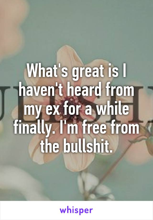 What's great is I haven't heard from my ex for a while finally. I'm free from the bullshit.