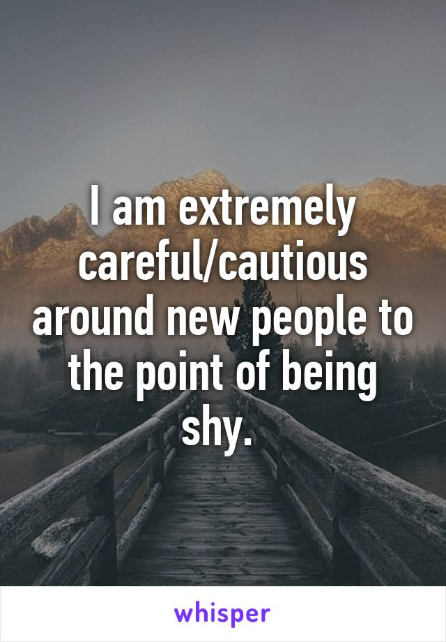 I am extremely careful/cautious around new people to the point of being shy.