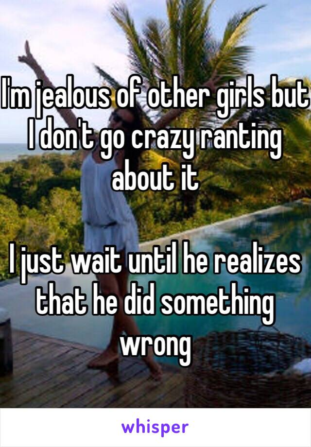 I'm jealous of other girls but I don't go crazy ranting about it  I just wait until he realizes that he did something wrong