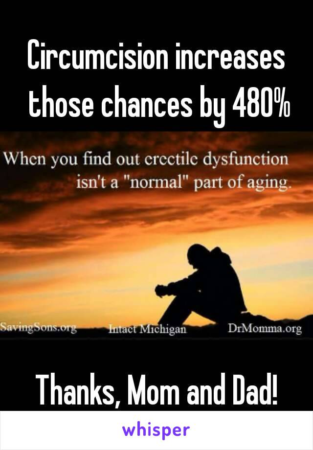 Circumcision increases those chances by 480%      Thanks, Mom and Dad!