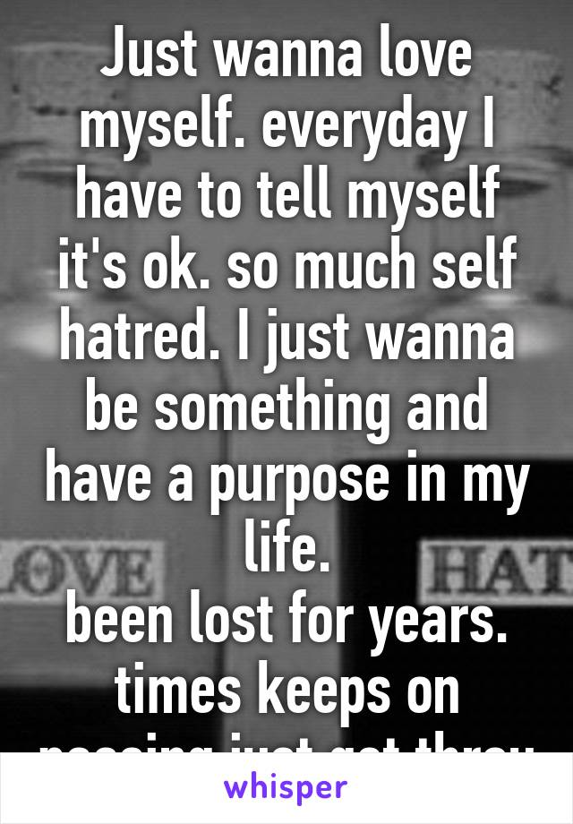 Just wanna love myself. everyday I have to tell myself it's ok. so much self hatred. I just wanna be something and have a purpose in my life. been lost for years. times keeps on passing just get throu