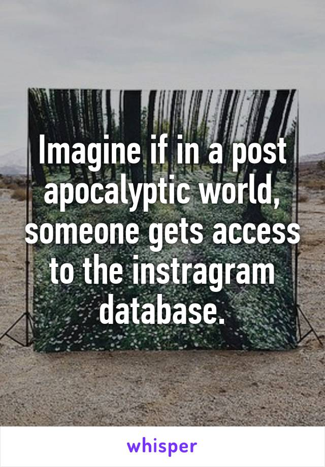 Imagine if in a post apocalyptic world, someone gets access to the instragram database.