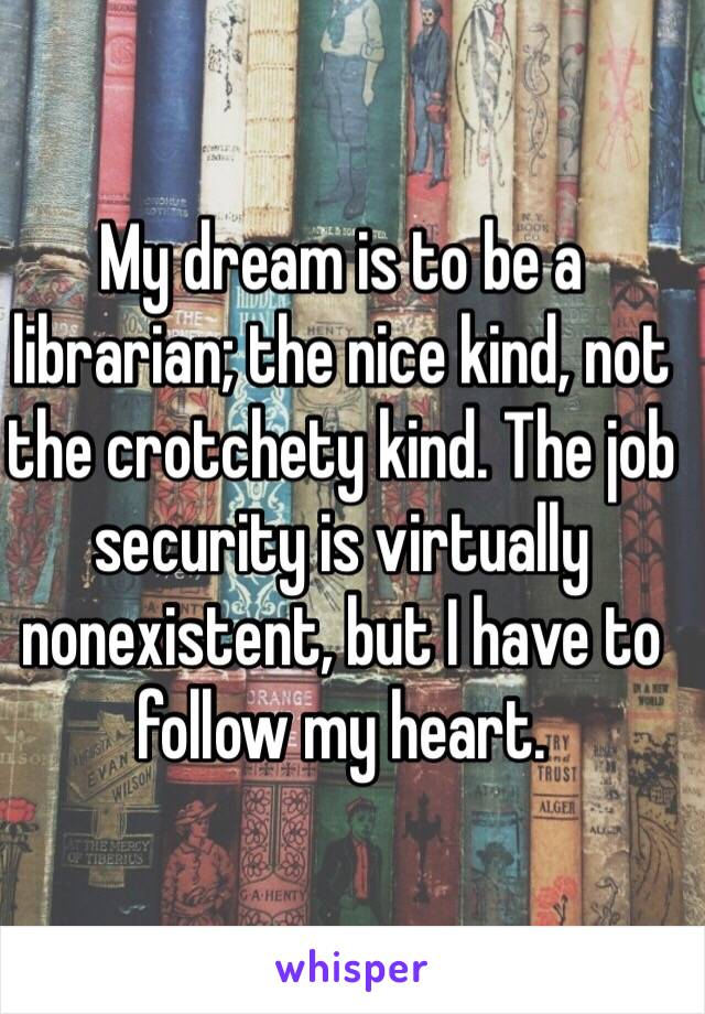 My dream is to be a librarian; the nice kind, not the crotchety kind. The job security is virtually nonexistent, but I have to follow my heart.