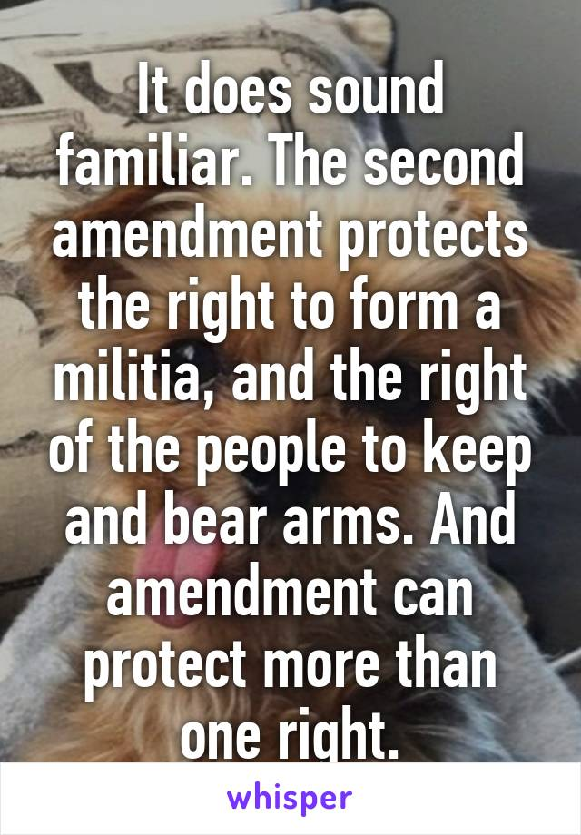 It does sound familiar. The second amendment protects the right to ...