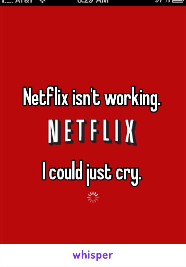 Netflix isn't working.    I could just cry.