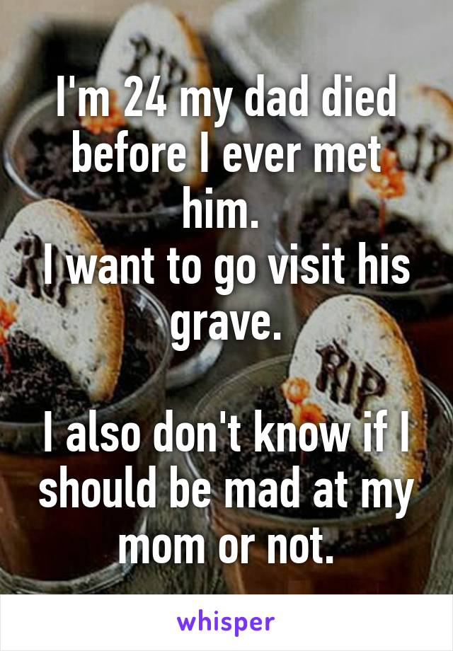 I'm 24 my dad died before I ever met him.  I want to go visit his grave.  I also don't know if I should be mad at my mom or not.