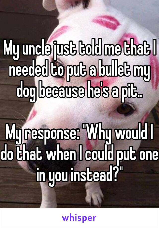 """My uncle just told me that I needed to put a bullet my dog because he's a pit..  My response: """"Why would I do that when I could put one in you instead?"""""""