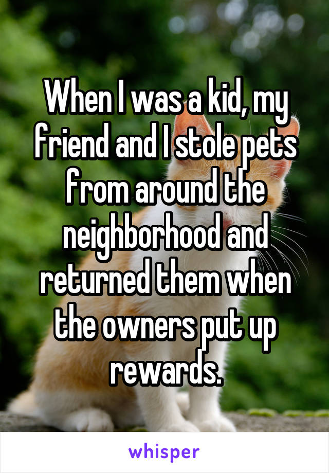 When I was a kid, my friend and I stole pets from around the neighborhood and returned them when the owners put up rewards.