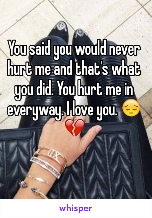 You said you would never hurt me and that's what you did. You hurt me in everyway. I love you. 😔💔