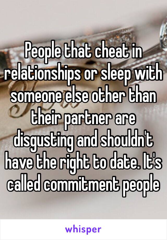 People that cheat in relationships or sleep with someone else other than their partner are disgusting and shouldn't have the right to date. It's called commitment people