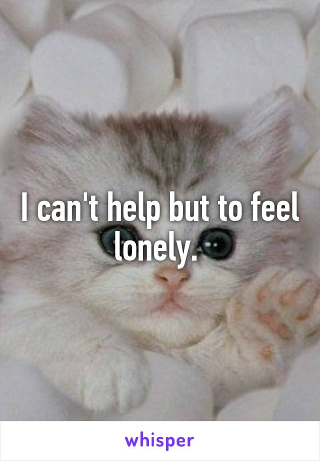 I can't help but to feel lonely.
